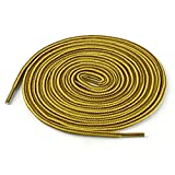 3 Pairs Round Rope Dual Colored Striped 1/5 Thick Shoelace for Boots Sneakers & Hiking Shoes Gold Yellow Brown 120cm / 47.24'